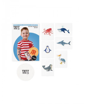 Временные тату с дополненной реальностью AR Ocean animals set