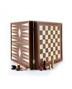 Набор ручной работы 3 в 1 Manopoulos, шахматы + нарды + шашки