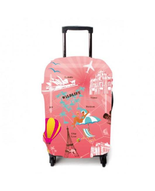 Чехол для чемодана розовый