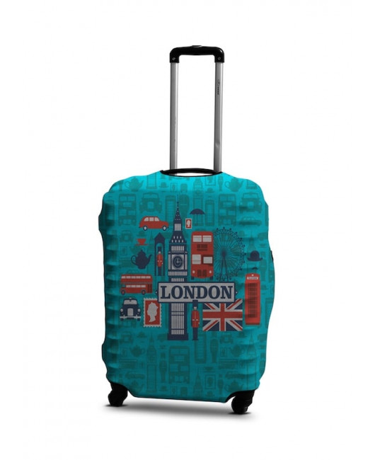 Чехол для чемодана Лондон голубой