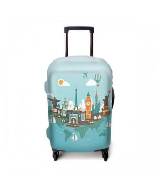 Чехол для чемодана голубой