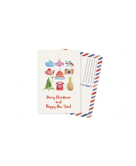 Акварельная открытка новогодняя