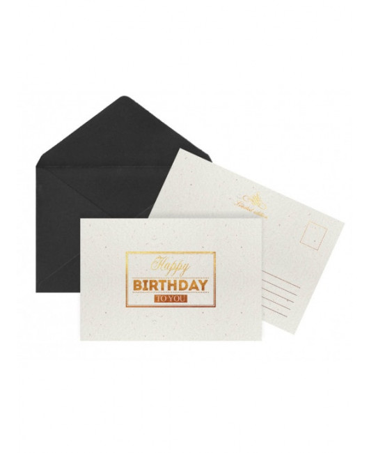 Черная Белая открытка с Днем Рождения