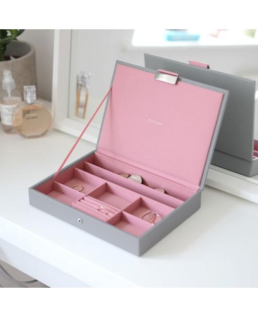 Шкатулка для украшений из кожи купить розовая