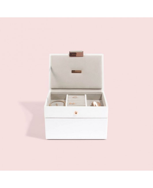 Белая двухярусная шкатулка для украшений купить