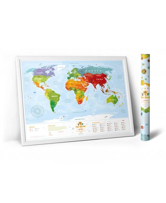 Развивающая карта мира для детей  -  животные