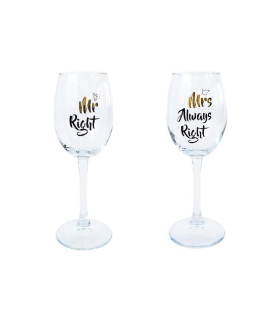 Набор из двух винных бокалов на свадьбу