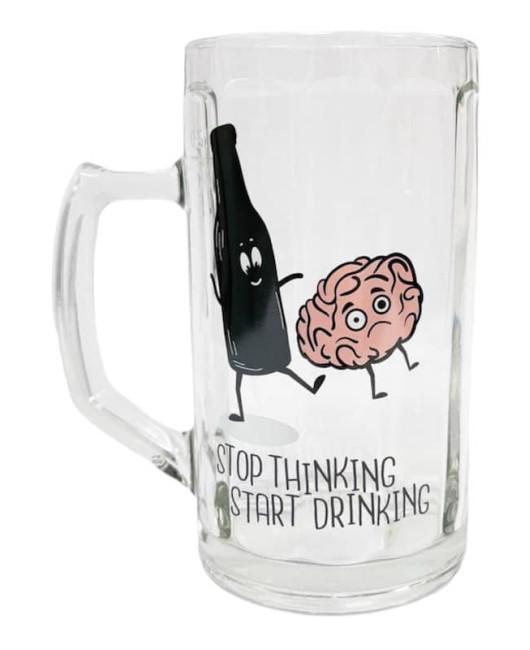 Бокал для пива с надписью Stop thinking Харьков