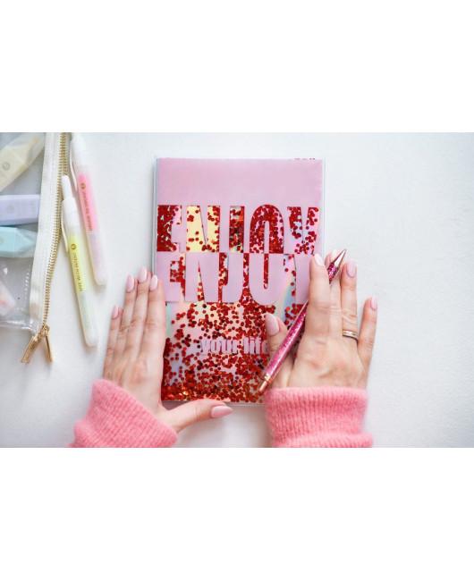 Блокнот Enjoy your life розовый с блестками Харьков