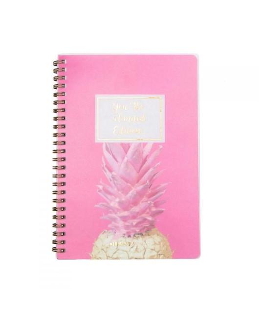 Блокнот с ананасом розовый