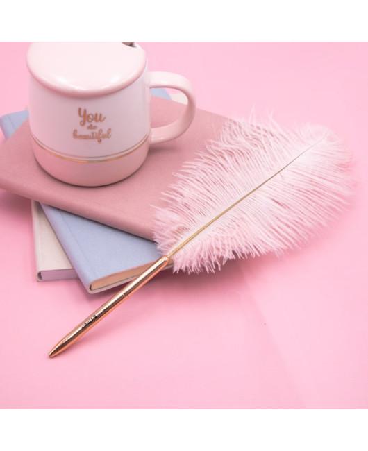 Ручка с розовым пером купить