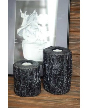 Подсвечник деревянный черный