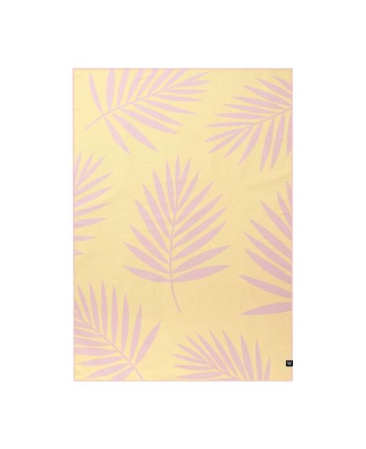 Плед с пальмой розовый, желтый